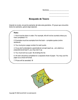 Busqueda de Tesoro (Grammar Treasure Hunt for Spanish novels)