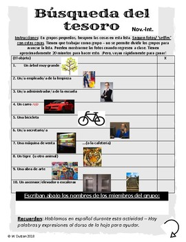 Búsqueda del tesoro - Schoolwide scavenger hunt for the Spanish class (Nov-Int)