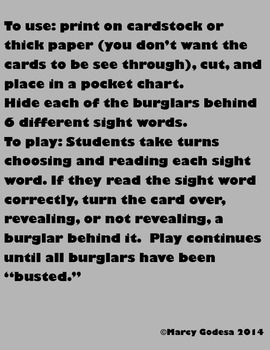 Bust the Burglar {Sight Words Edition 1}