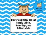 Bobcat Mascot Supply Labels, Name Tags, and Folder Labels