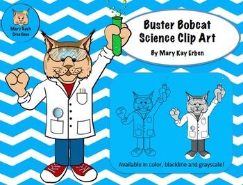FREE Clip Art: Buster Bobcat Mascot Science Clip Art