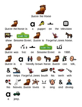Buster the Horse - Sesame Street picture supported text lesson article questions