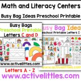 Busy Bag Ideas Literacy + Alphabet + Early Math Printable