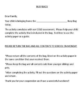 Busy Bag Literacy Family Involvement