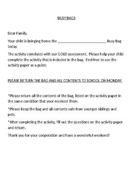 Busy Bag Math Family Involvement