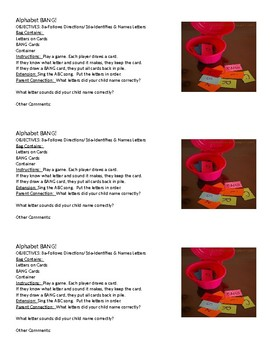 Busy Bags-Family Involvement Activitis-Alphabet Bang