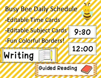 Busy Bee Daily Schedule Editable