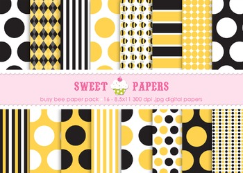 Busy Bee Digital Paper Pack - by Sweet Papers
