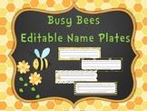 Busy Bee Editable Name Plates