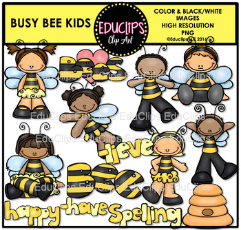 Busy Bee Kids Clip Art Bundle {Educlips Clipart}