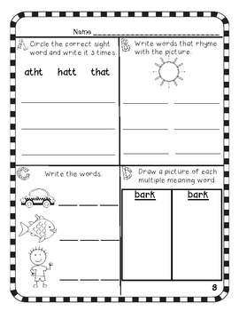 Kindergarten Word Work Journal