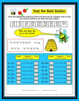 Busy Bee Math: Single and Double Digit Addition and Subtraction
