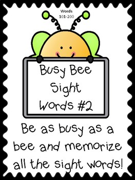 Busy Bee Sight Words to Memorize #2