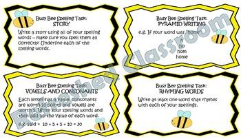 Busy Bee Spelling Tasks