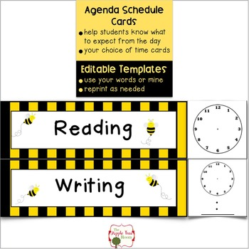 Agenda Schedule Cards {Editable} - Busy Bee Theme