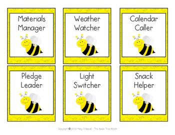 Classroom Jobs - Busy Bee Theme