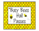 Hall Pass Set -  Clip Chart, Passes and Bathroom Display - Busy Bee Theme