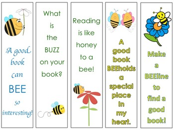 Busy Bee Themed Bookmarks