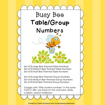 Busy Bee Themed Table/Group Numbers