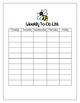 Busy Bee Themed Weekly To-Do List