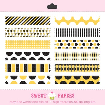 Busy Bee Washi Tape Digital Clipart Set - by Sweet Papers