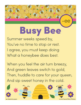 Busy Bee - ee Word Family Poem of the Week