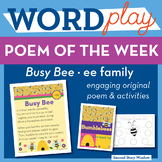 Busy Bee - ee Word Family Poem of the Week - Long Vowel E Fluency Poem