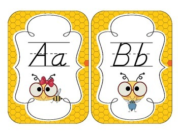 Busy Bees Alphabet Cards: D'Nealian Version