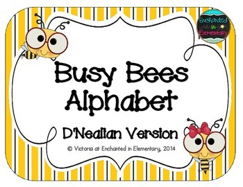 Busy Bees Alphabet Cards: D'Nealian Version