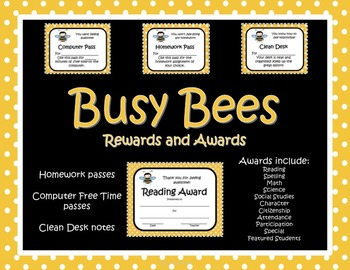 Busy Bees Rewards and Awards Certificates