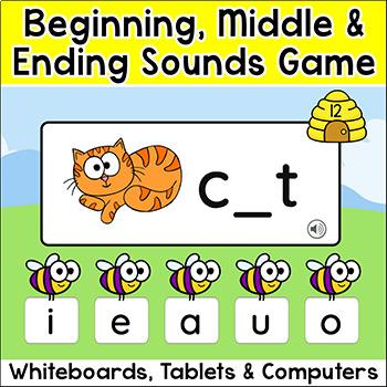 cvc words beginning sounds middle ending sounds digital word work