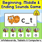 CVC Words Game for Beginning Sounds, Middle & Ending Sounds - Word Work Activity