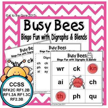 Busy Bees Bingo Fun with Digraphs and Blends