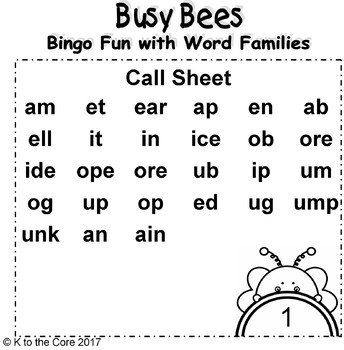 Busy Bees Bingo Fun with Word Families