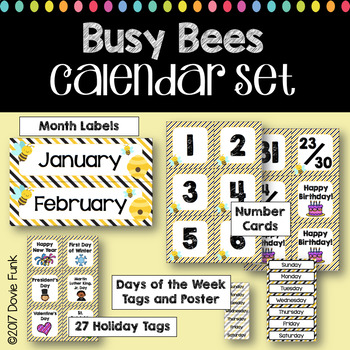 Classroom Decor Busy Bees Calendar Set