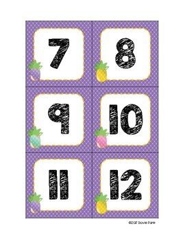 Classroom Decor Purple Pineapples Calendar Set