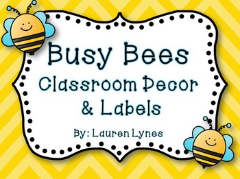 Busy Bees Classroom Decor Labels