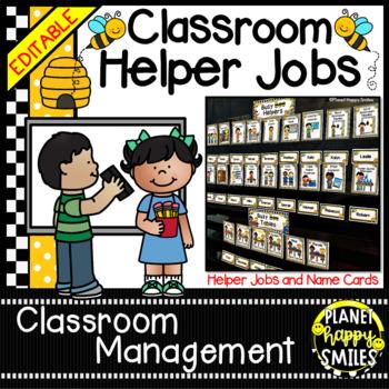 Classroom Helper Jobs (EDITABLE) ~ Busy Bees Theme