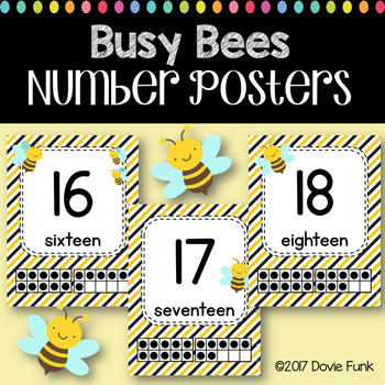 Classroom Decor Busy Bees Number Posters