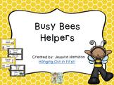 Busy Bees Classroom Theme - Class Helpers Editable
