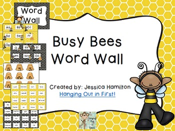 Busy Bees Classroom Theme - EDITABLE Word Wall with Fry Words