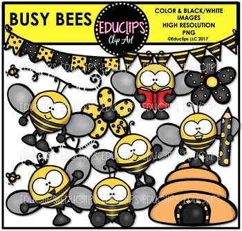 Busy Bees Clip Art Bundle {Educlips Clipart}