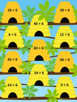 Busy Bees Dividing by 6 File Folder Game ~ Division Activity/Center