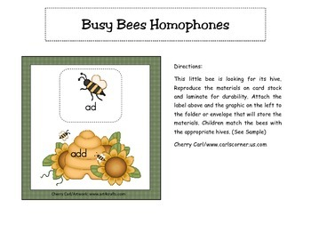 Busy Bees Homophone Literacy Center Activity