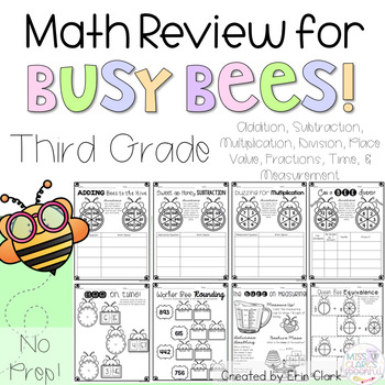 Busy Bees Math Review NO PREP (3rd Grade)