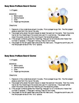 Busy Bees Prefixes Board Game