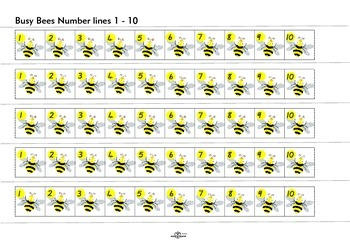 Busy Bees Set 3 - Number line and dice