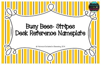 Busy Bees- Stripes Desk Reference Nameplates