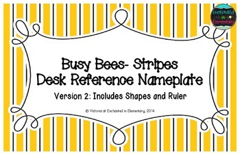 Busy Bees- Stripes Desk Reference Nameplates Version 2