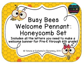 Busy Bees Welcome Pennant: Honeycomb Set